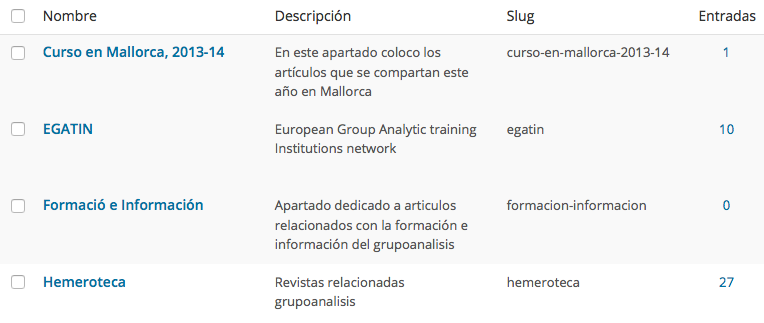 Descripcions de categories
